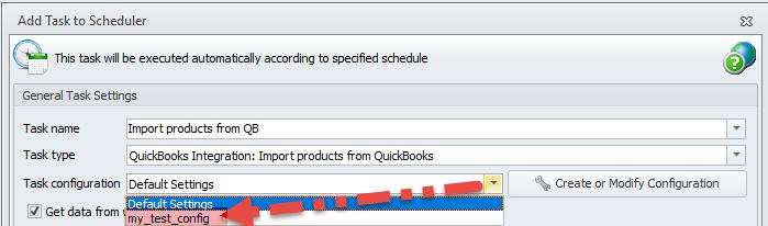 Task Configuration list