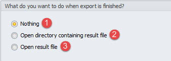 Actions after export