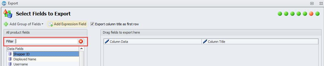 Filter row