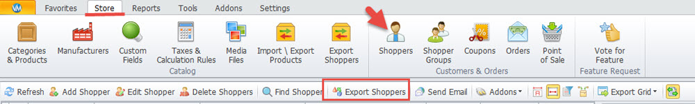 Export shoppers option