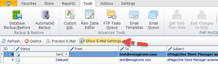 Show email settings button