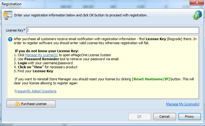 License key entering