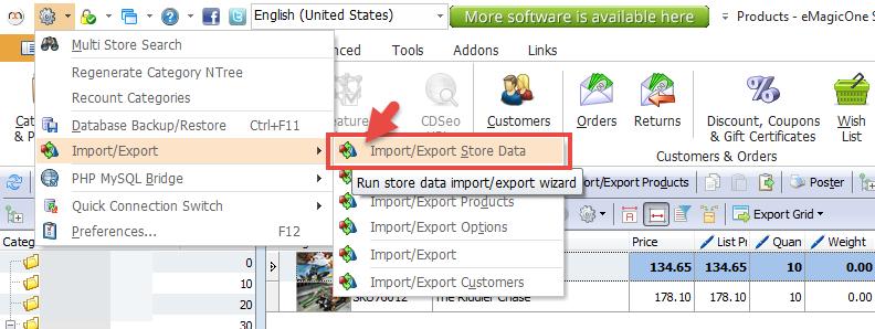 Import/export store data