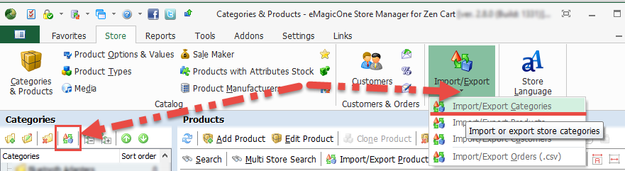 Import-export wizard in Category Management