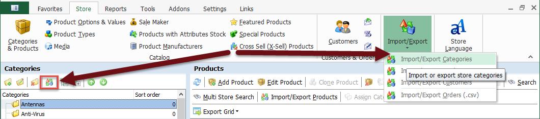Import/Export wizard