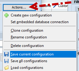 Save current configuration option