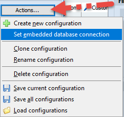Set embedded database connection option