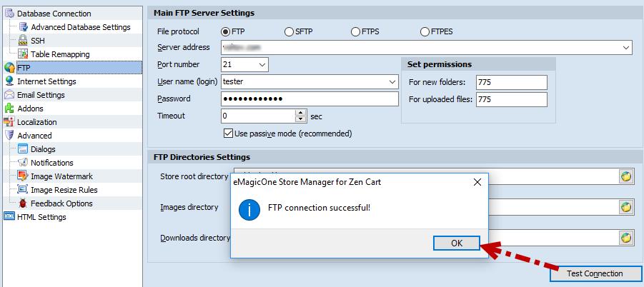 Test FTP Connection button