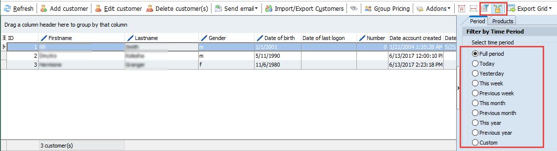 Customer filter tools