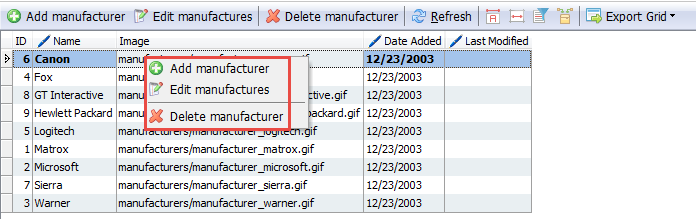 Manufacturer context menu