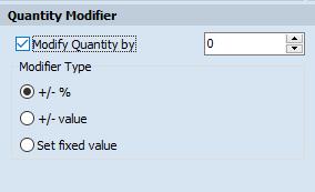 Quantity Modifier tab