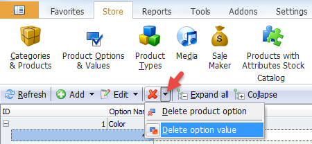 Delete option value