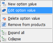 Edit option value