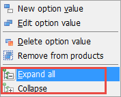 Expand and collapse in context menu