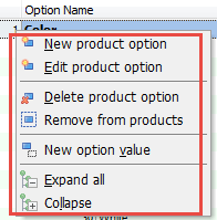 Options context menu