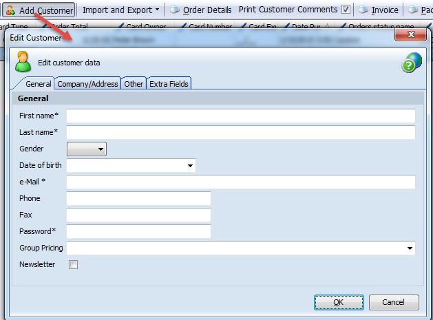 Add customer form