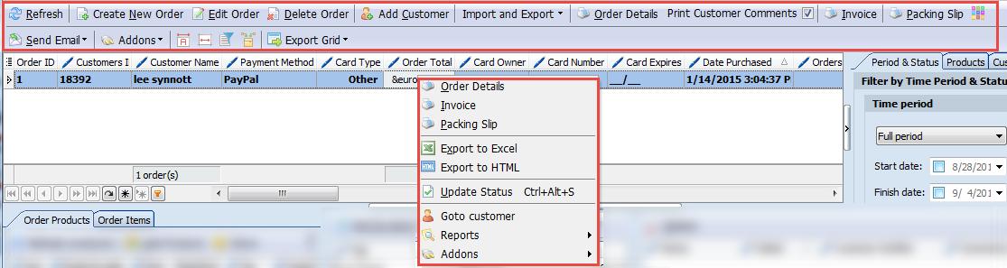 Orders main toolbar