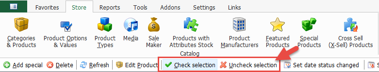 Check/uncheck selection