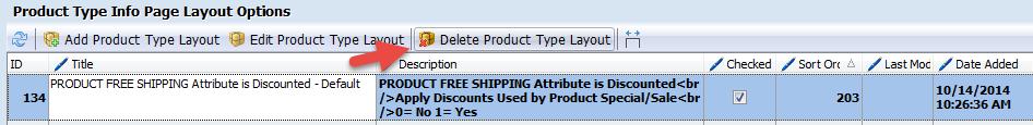 Delete Product Type Layout option