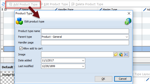 Add Product Type button