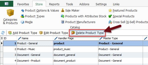 Delete product type