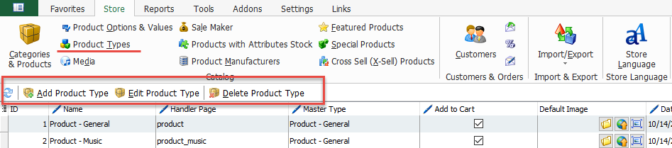 Product types toolbar