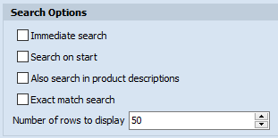 Search options area