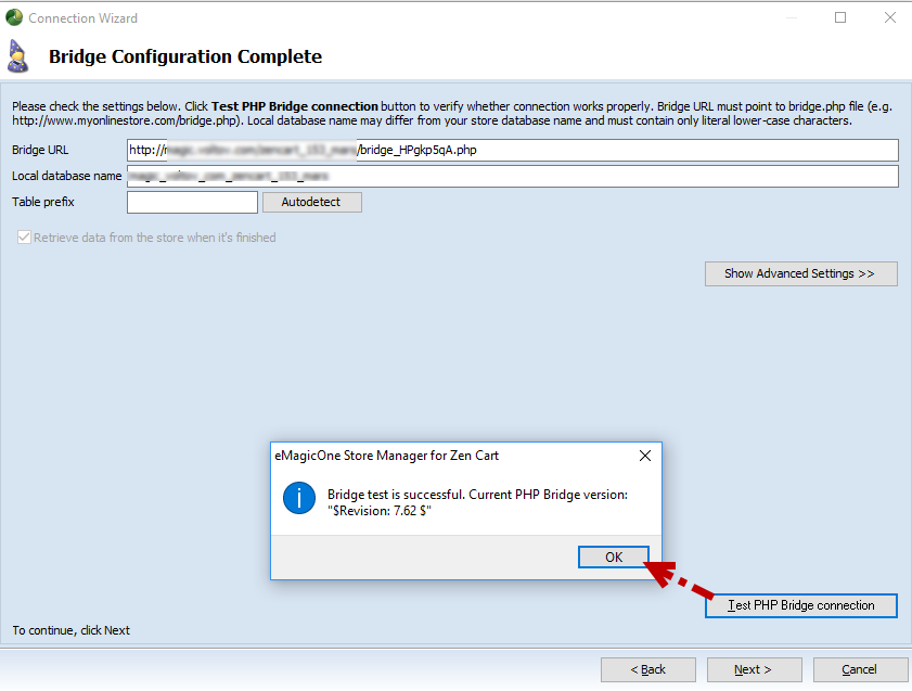 Bridge Configuration page