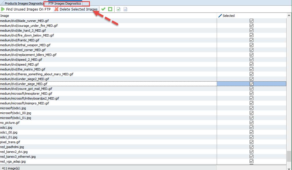 FTP Images diagnostics - Delete option